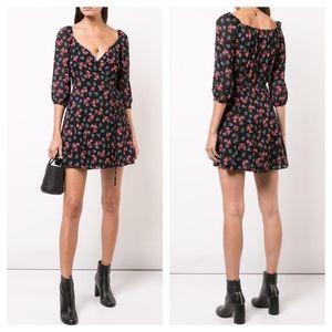 REFORMATION Eveleigh Black Floral Wrap Dress sz S